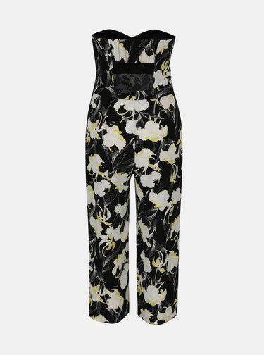 Salopeta neagra cu print floral si decolteu inima Miss Selfridge