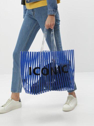 Modrá transparentná pruhovaná plážová taška Pieces Nina
