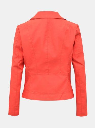 Červená koženková bunda ONLY Melanie