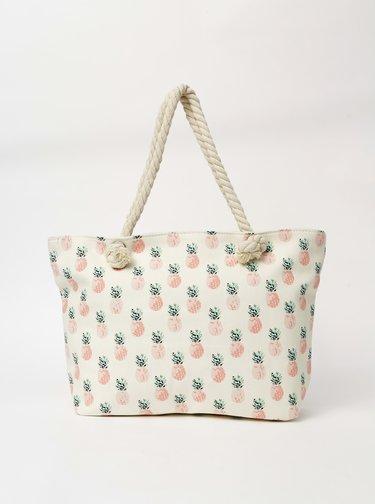 Krémová dámská vzorovaná plážová taška Haily´s Samila