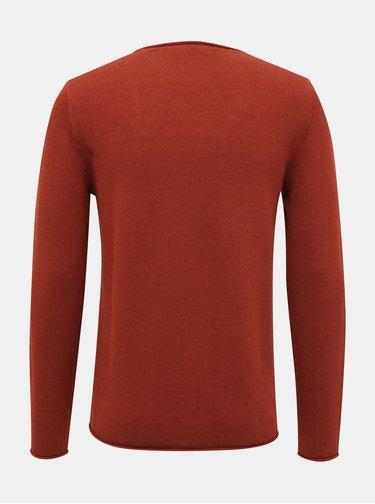 Cihlový lněný basic svetr Jack & Jones Premium Blalinen