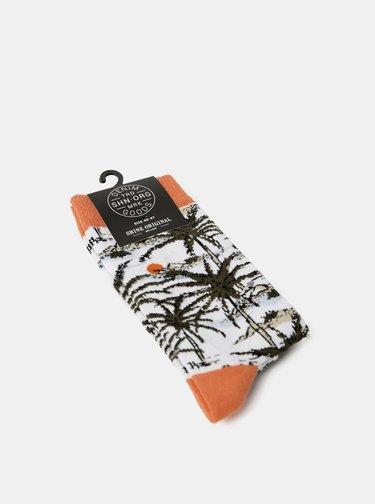 Oranžovo-biele vzorované ponožky Shine Original