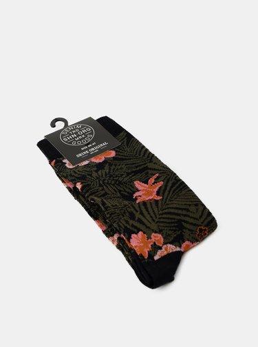 Khaki vzorované ponožky Shine Original
