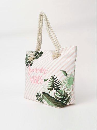 Krémová dámská vzorovaná plážová taška Haily´s Summer Vibes
