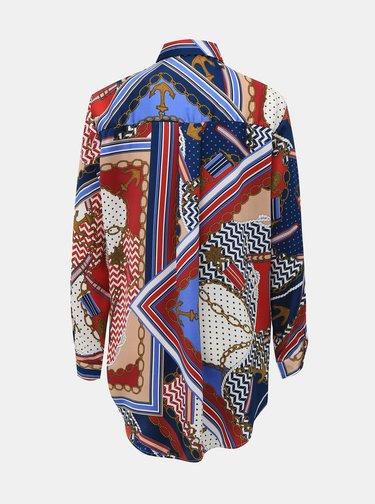 Červeno-modrá dámska vzorovaná košeľa Alcott