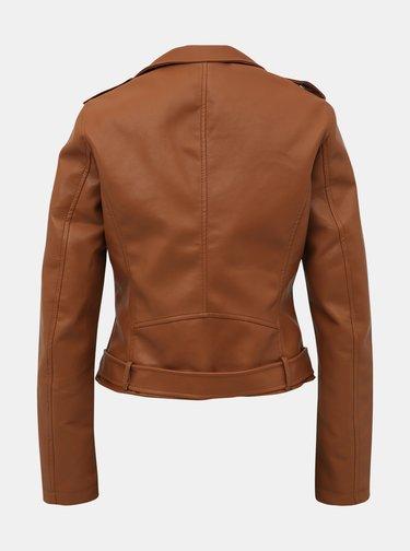 Hnedá dámska koženková bunda Alcott