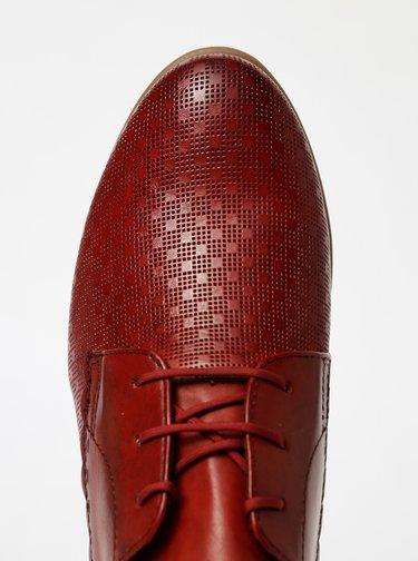 Červené kožené vzorované polobotky Tamaris
