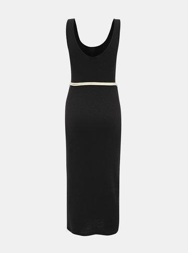 Černé žebrované šaty s páskem Alcott