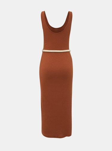 Hnědé žebrované šaty s páskem Alcott