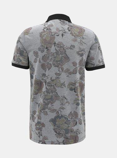Šedé květované polo tričko Jack & Jones Nick