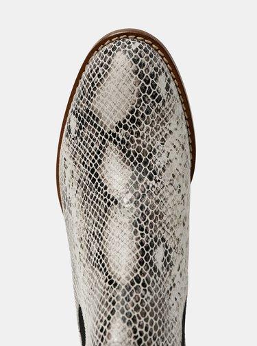 Biele dámske kožené chelsea boty s hadím vzorom OJJU