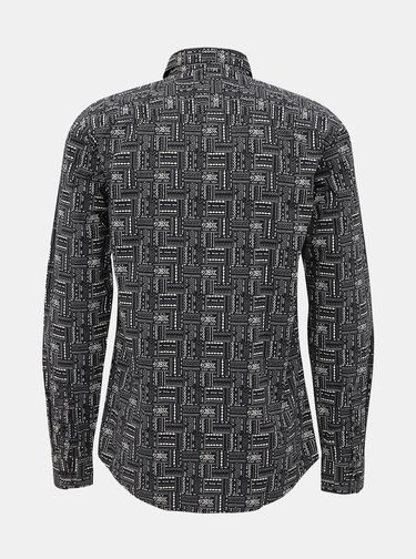 Černá vzorovaná slim fit košile ONLY & SONS Elroy