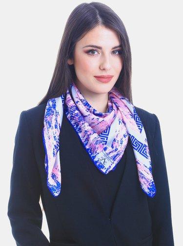 Růžovo-modrý dámský vzorovaný šátek Versace 19.69