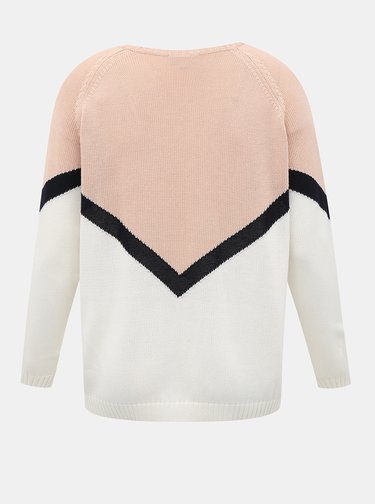 Bielo-ružový sveter ONLY CARMAKOMA Sara