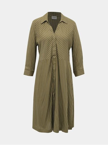 Khaki pruhované košilové šaty Jacqueline de Yong Robbie