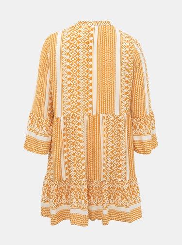 Bielo-žlté vzorované šaty ONLY CARMAKOMA
