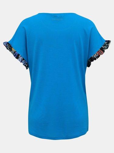 Tyrkysové kvetované tričko Desigual