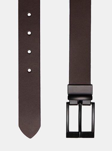 Hnedo-čierny obojstranný kožený opasok Burton Menswear London