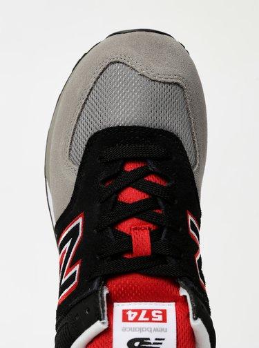 Červeno-šedé pánské semišové tenisky New Balance 574