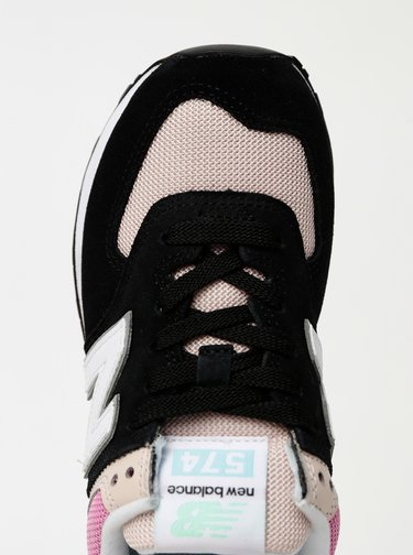 Růžovo-černé dámské semišové tenisky New Balance 574