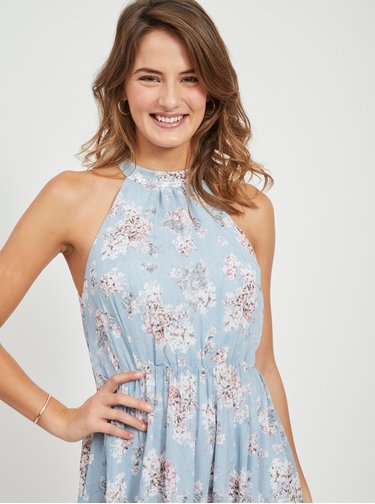 Modré kvetované maxišaty VILA Smilla