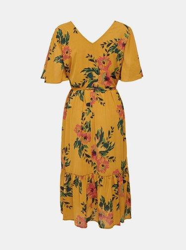 Žlté kvetované midišaty Jacqueline de Yong Solis