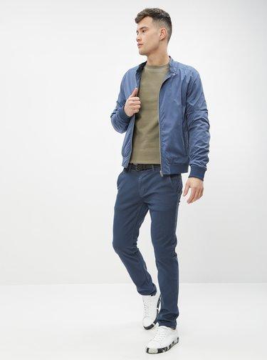 Tmavě modré vzorované chino kalhoty Shine Original