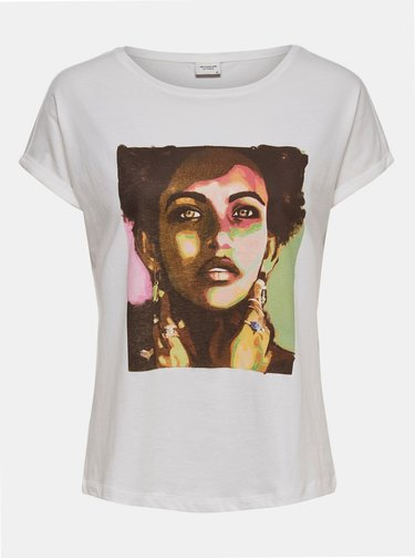 Bílé tričko s potiskem Jacqueline de Yong Alana