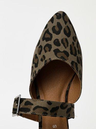 Khaki pantofle s leopardím vzorem Pieces Nua