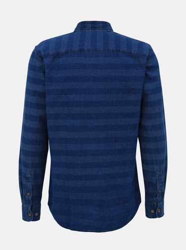 Tmavomodrá pruhovaná rifľová košeľa Jack & Jones Jaques