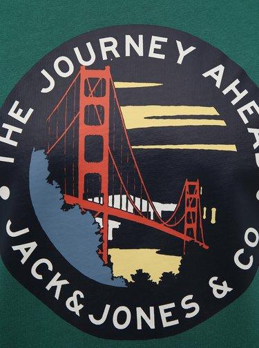 Tmavě zelená mikina s potiskem Jack & Jones Souvenir