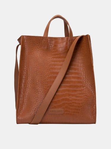 Hnědá kabelka s krokodýlím vzorem a odnímatelným pouzdrem Claudia Canova Retta