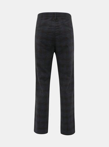 Tmavě šedé kostkované chino kalhoty s příměsí lnu ONLY & SONS Mark