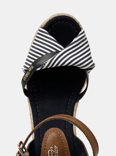 Modré pruhované sandálky na klínku Tom Tailor