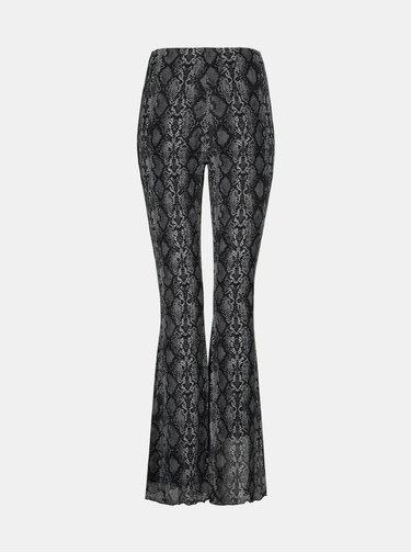 Tmavě šedé flared fit kalhoty s hadím vzorem TALLY WEiJL