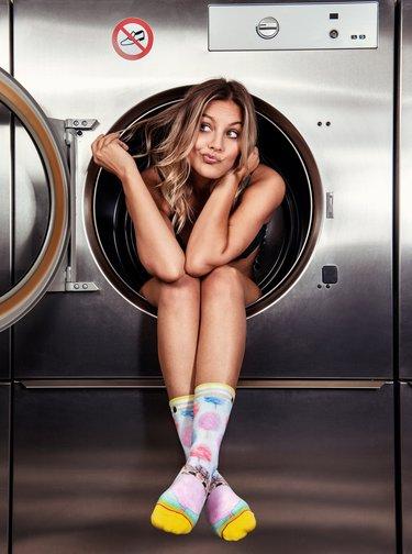 Bílo-modré dámské ponožky XPOOOS