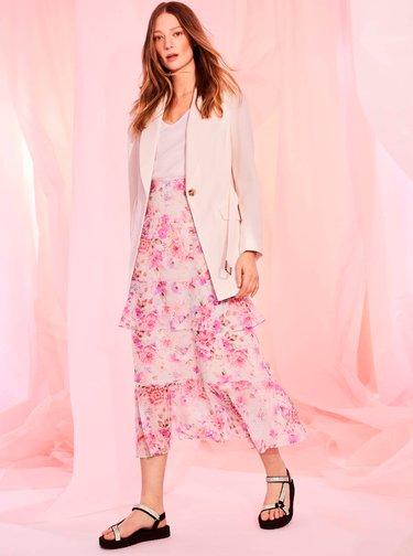 Světle růžová květovaná midi sukně Dorothy Perkins