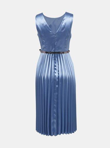 Modré saténové šaty s plisovanou sukní Dorothy Perkins