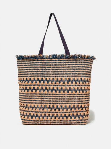 Béžovo-modrá plážová jutová taška Dorothy Perkins