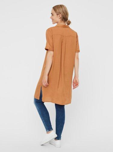 Hnedé košeľové šaty VERO MODA Chloe