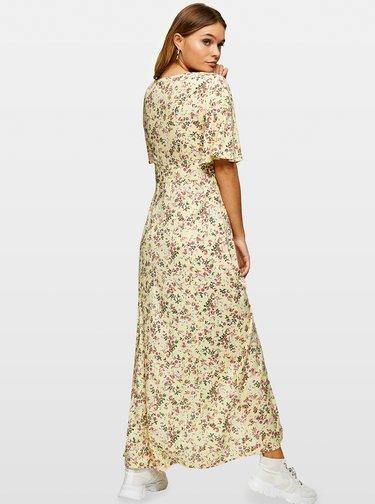 Krémové kvetované maxišaty Miss Selfridge