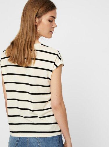 Krémové pruhované basic tričko VERO MODA