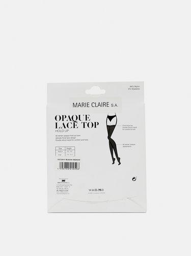 Čierne samodržiace pančuchy s krajkou Marie Claire