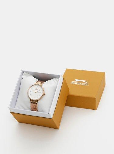 Dámske hodinky s kovovým remienkom v ružovozlatej farbe Slazenger