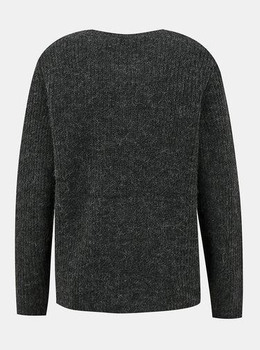 Tmavě šedý svetr s příměsí vlny z alpaky VILA