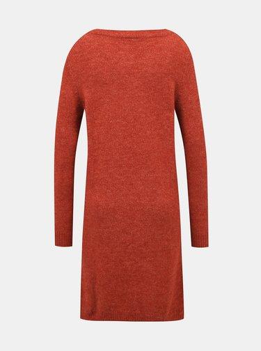 Cihlové svetrové šaty VILA