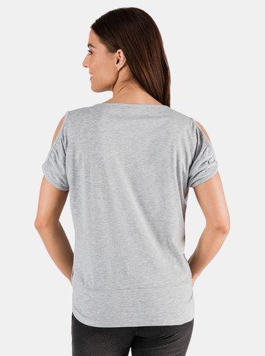 Svetlošedé dámske tričko s priestrihmi SAM 73