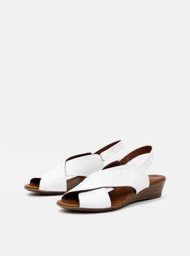 Biele kožené sandálky na plnom podpätku WILD