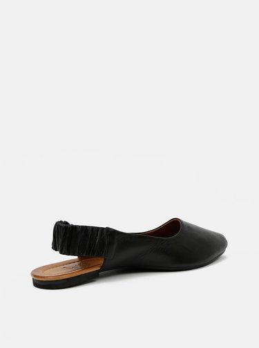 Černé kožené baleríny WILD