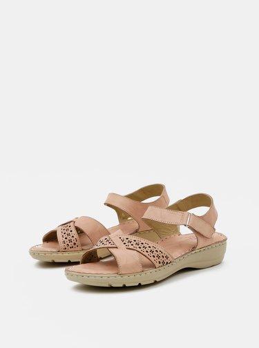 Starorůžové dámské kožené sandály WILD